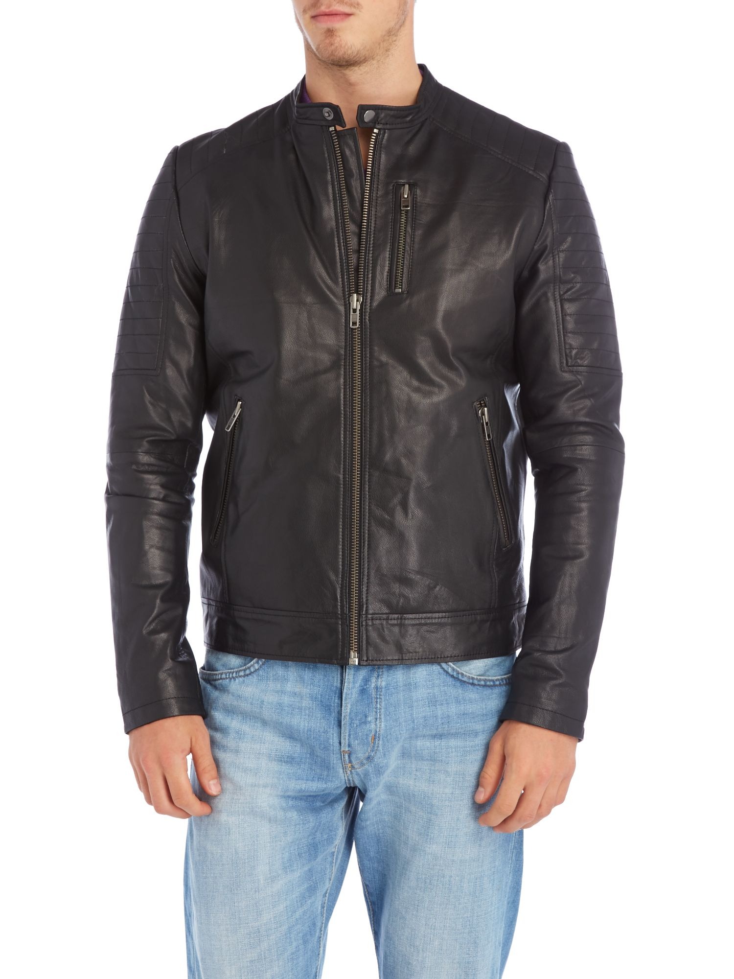 Buckle neck leather jacket