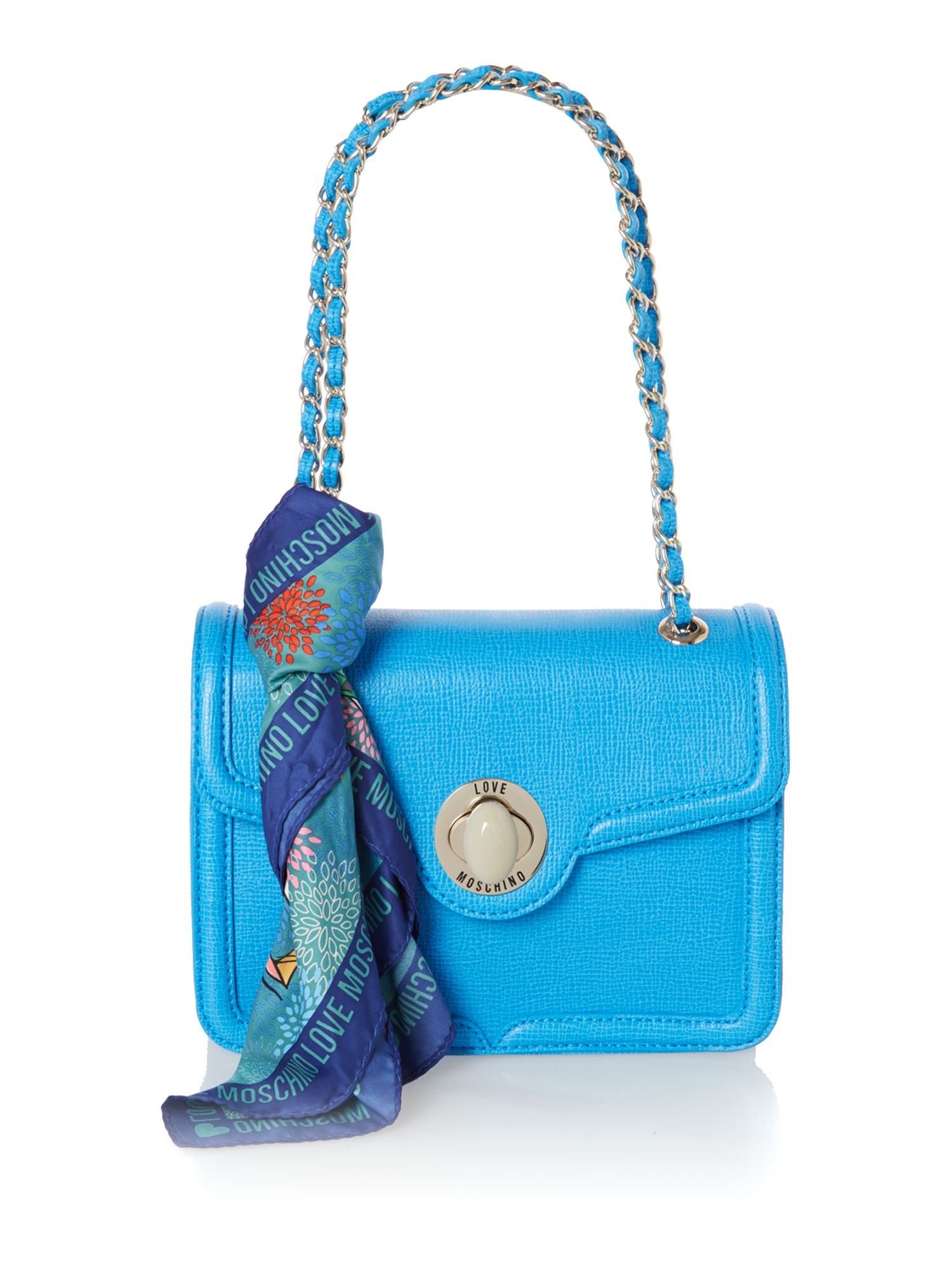 Blue small saffiano shoulder bag