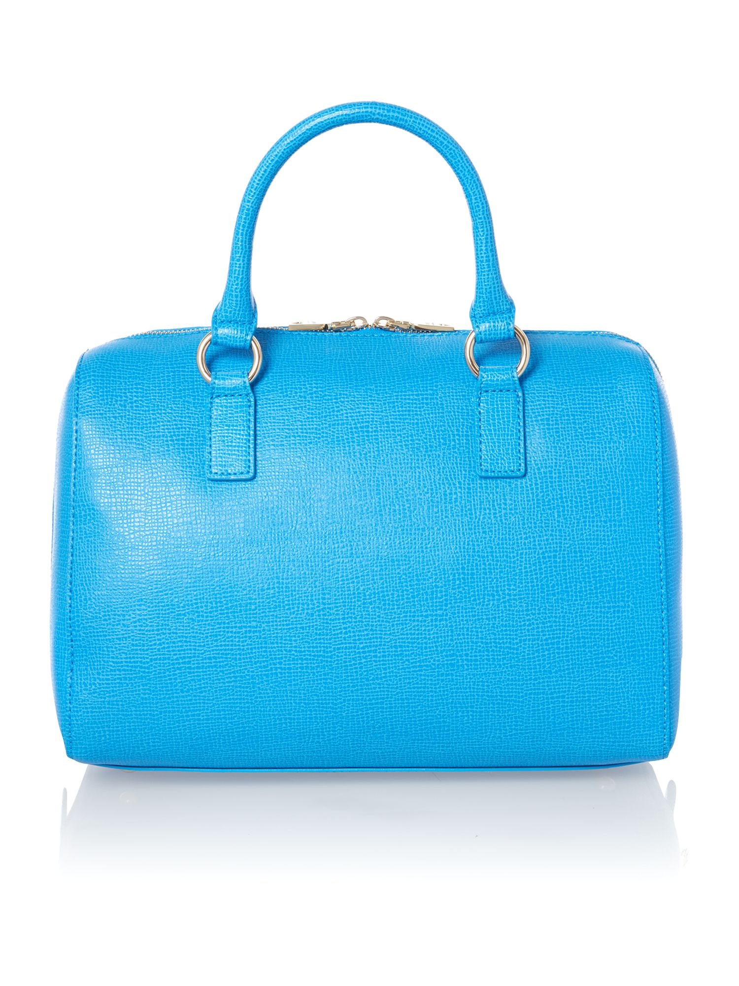 Blue large saffiano bowling bag