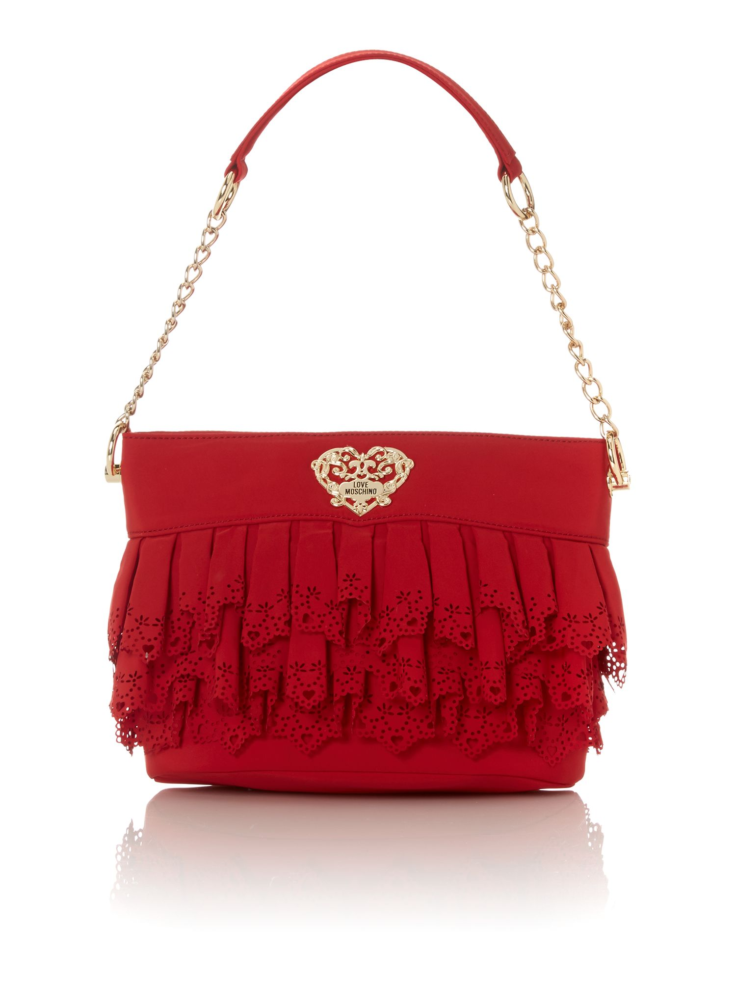 Red medium lace shoulder bag