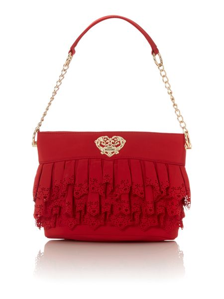 Love Moschino Red medium lace shoulder bag