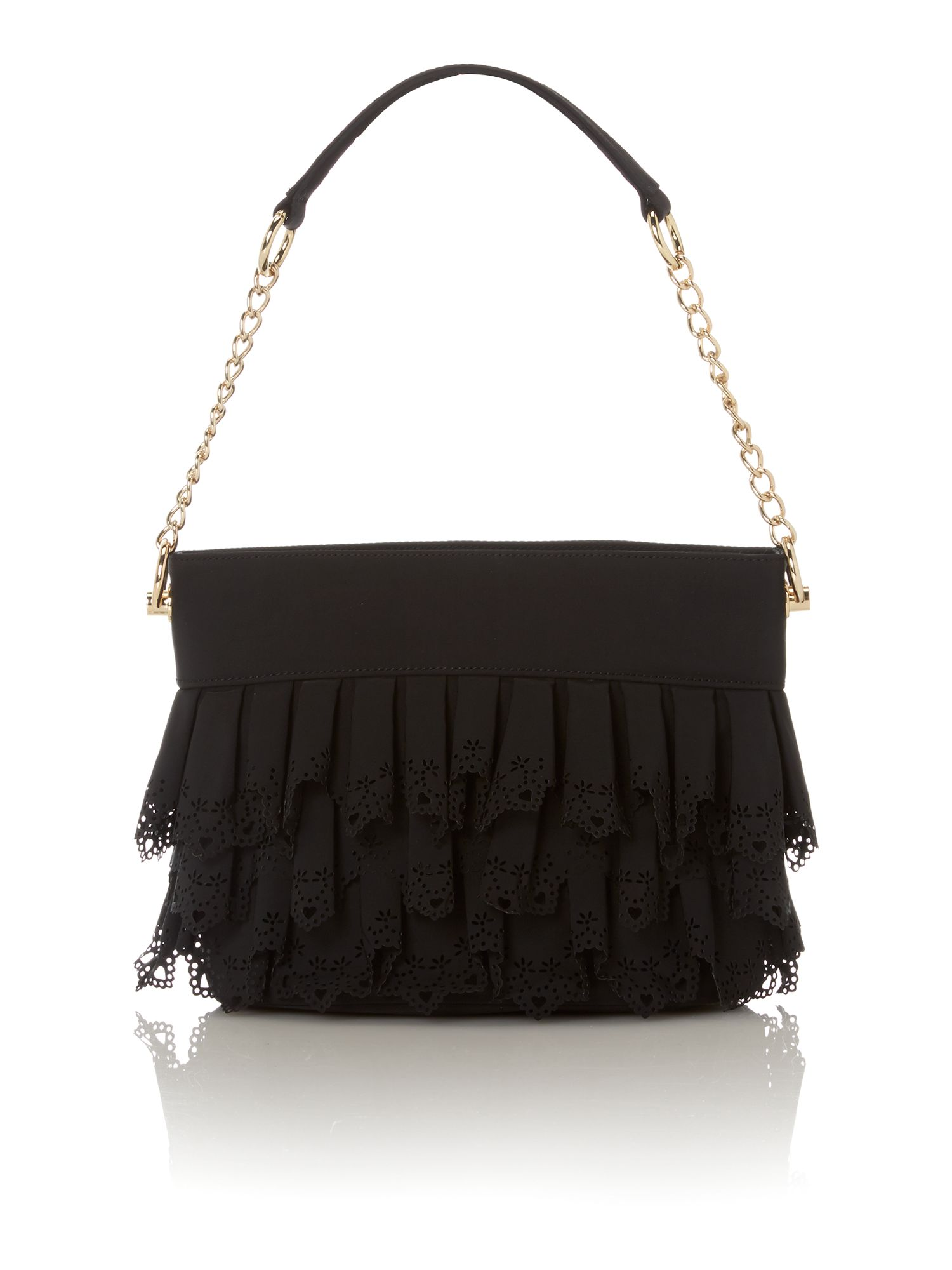 Black medium lace shoulder bag