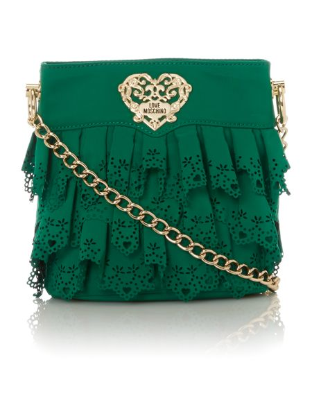 Love Moschino Small green lace cross body bag