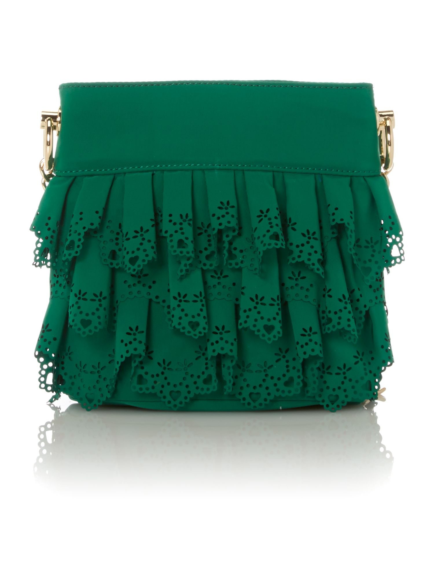 Small green lace cross body bag