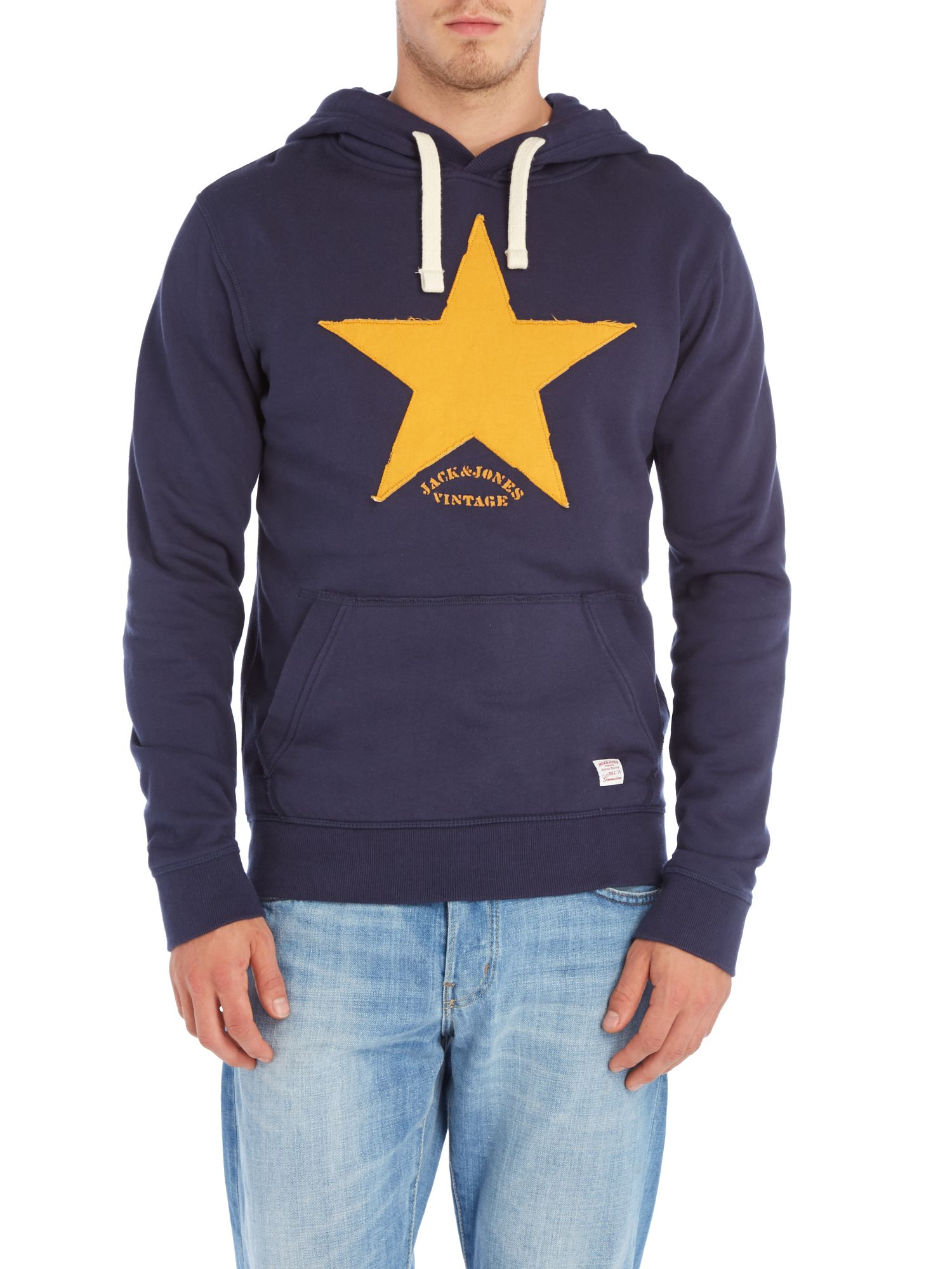 Star print hooded sweat