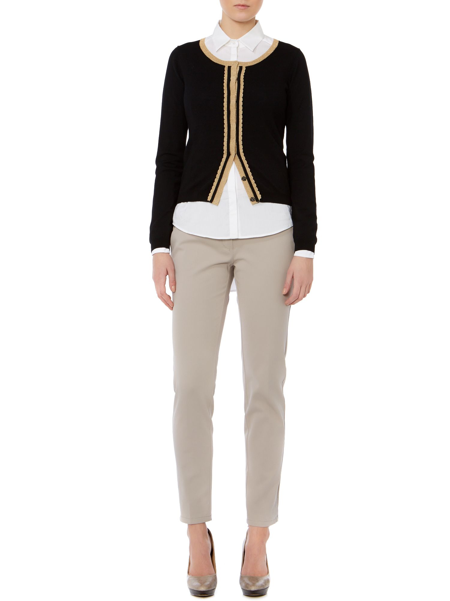 Walk long sleeve cardigan with metallic trim