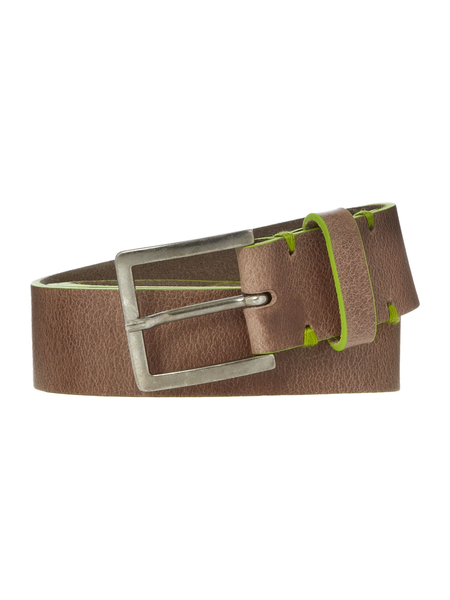Soft leather lime edge belt