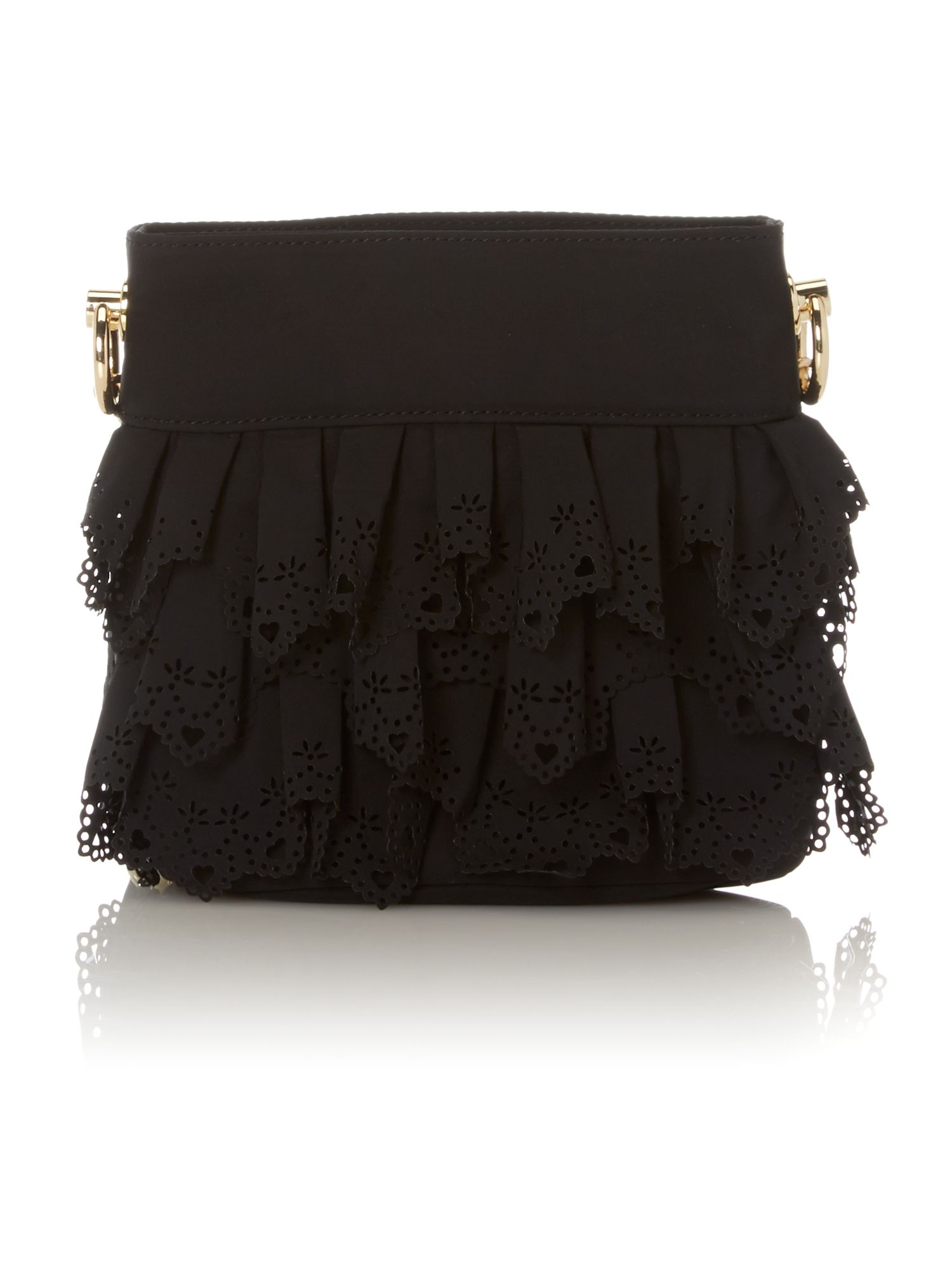 Small black lace cross body bag