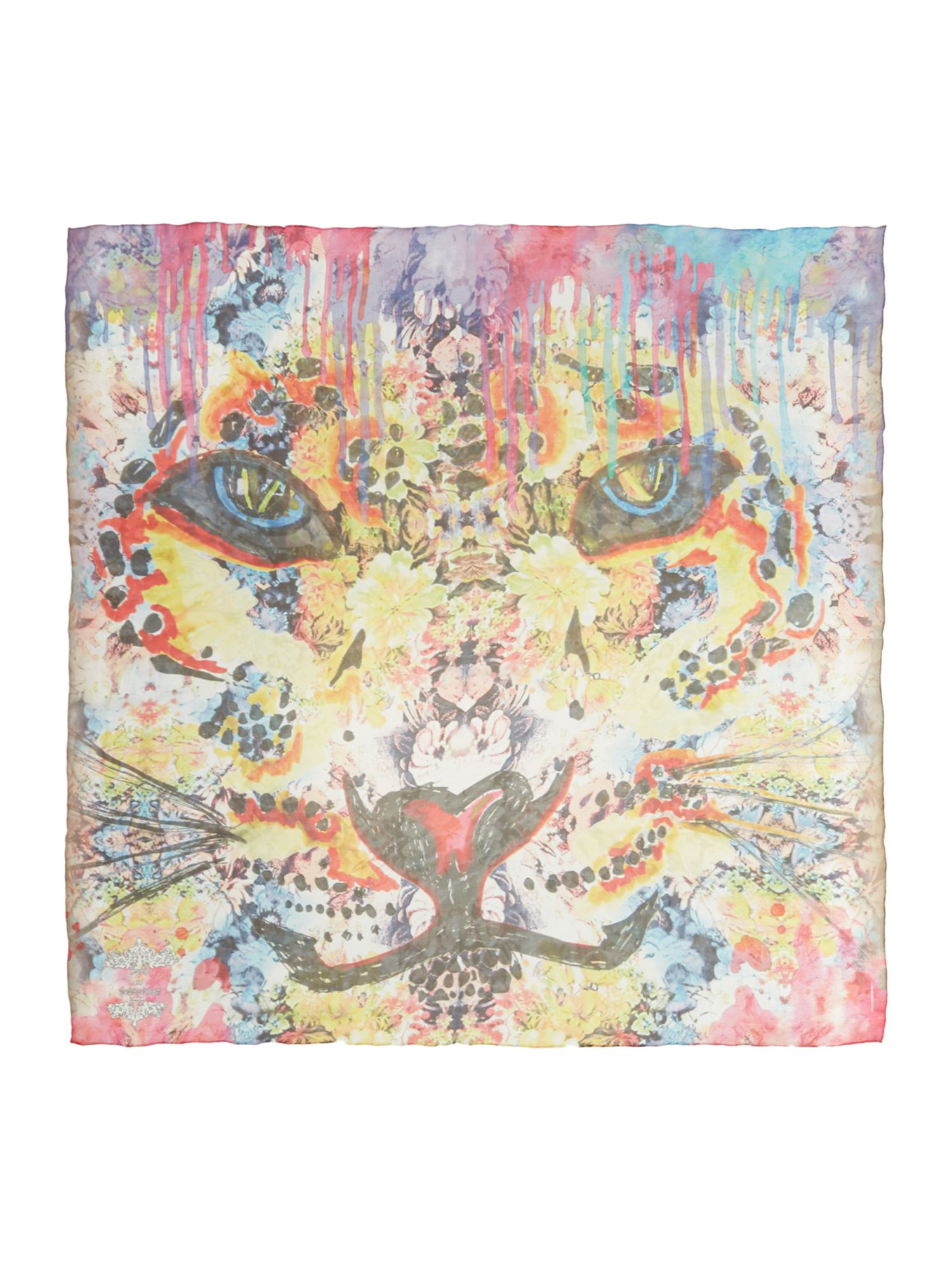 Tigera bloom bright silk square scarf