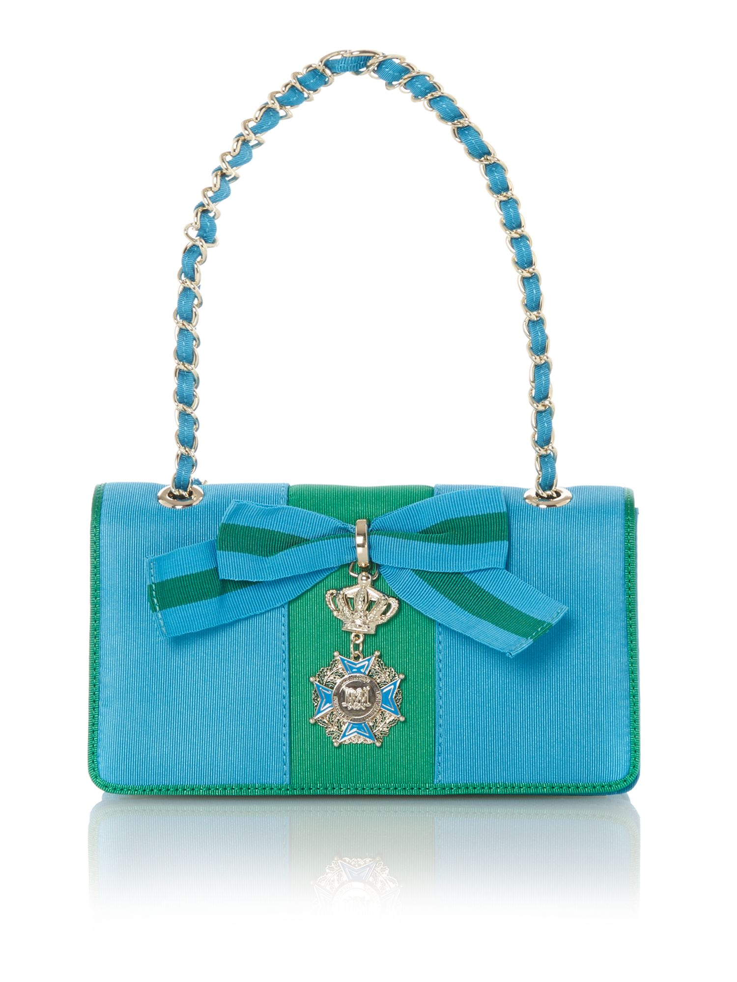 Small green and blue flapover shoulder bag