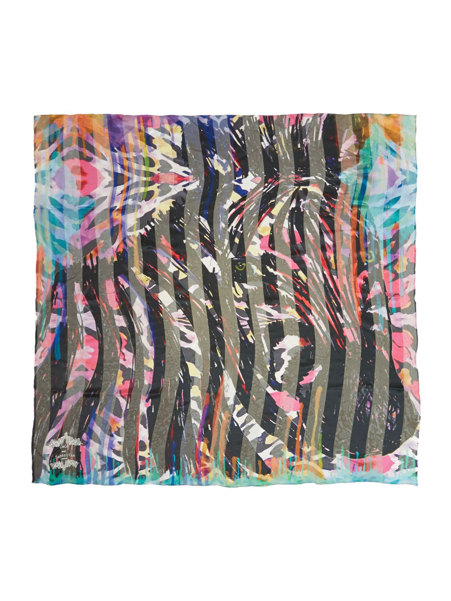 Zainy brights silk stripe square scarf