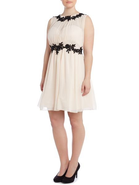 Little Mistress Cap sleeved applique detail fit and flare dress