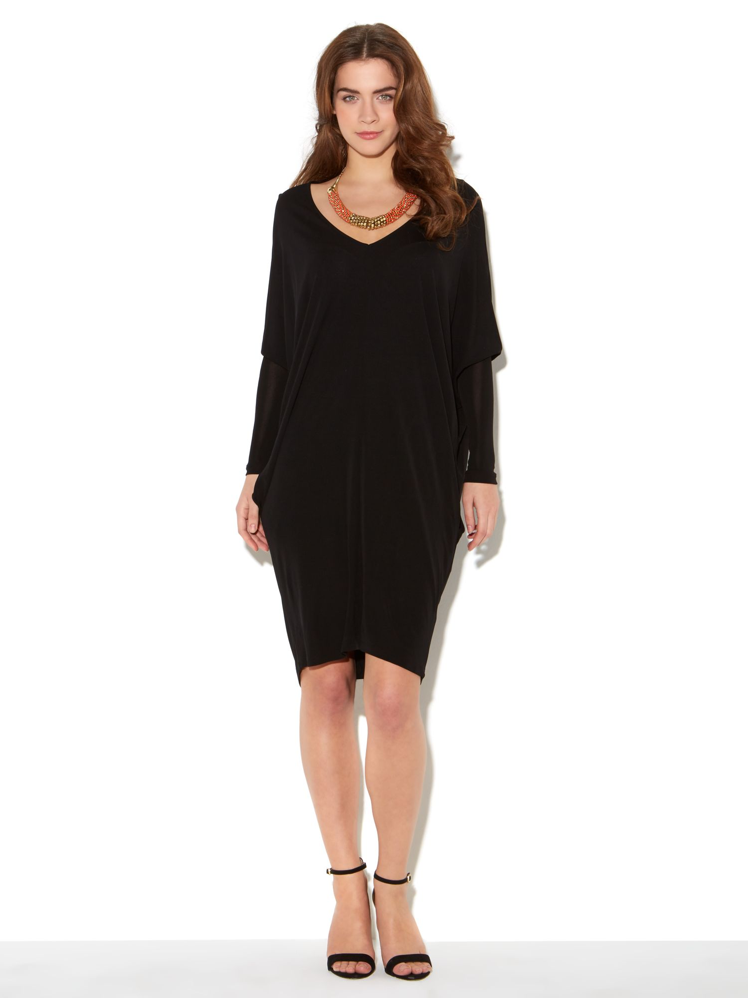Kite Crepe Dress With Mesh Sleeves