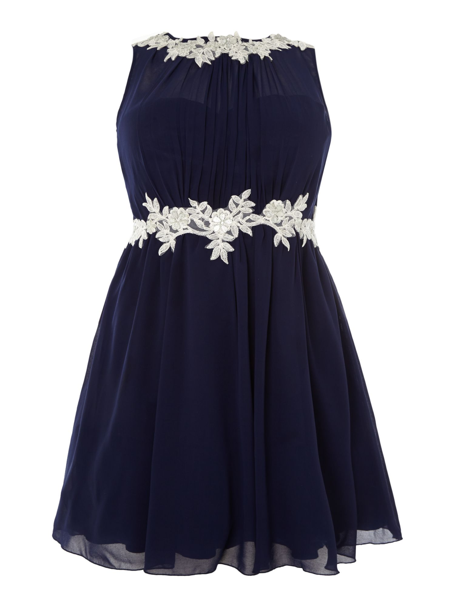 Cap sleeved applique detail fit and flare dress