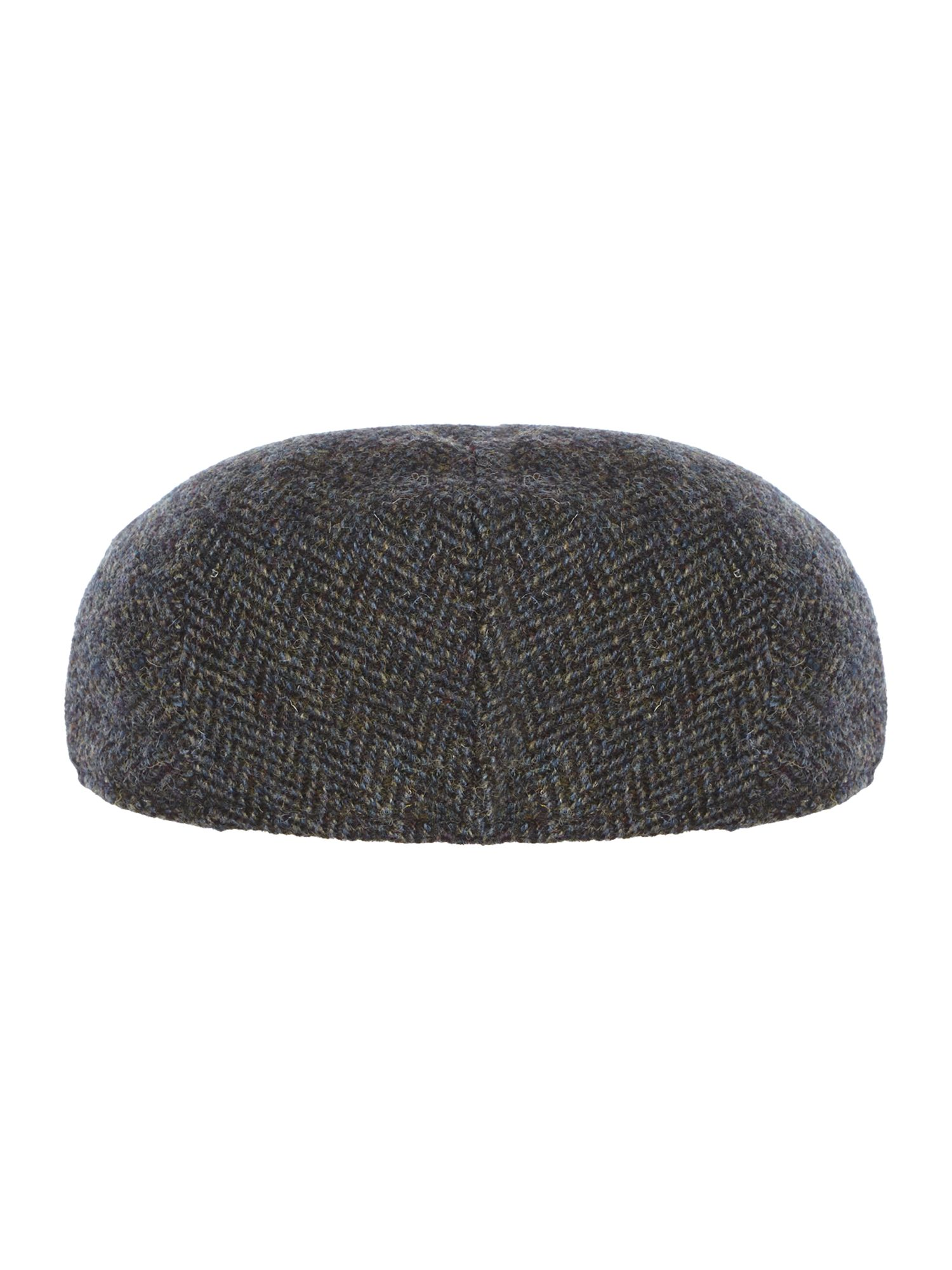 Herringbone harris tweed flat cap