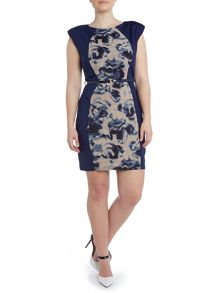 Printed panel bodycon dress
