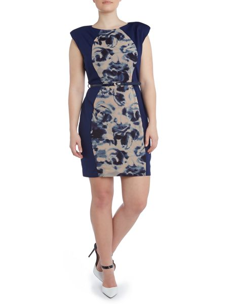 Little Mistress Plus Size Printed panel bodycon dress