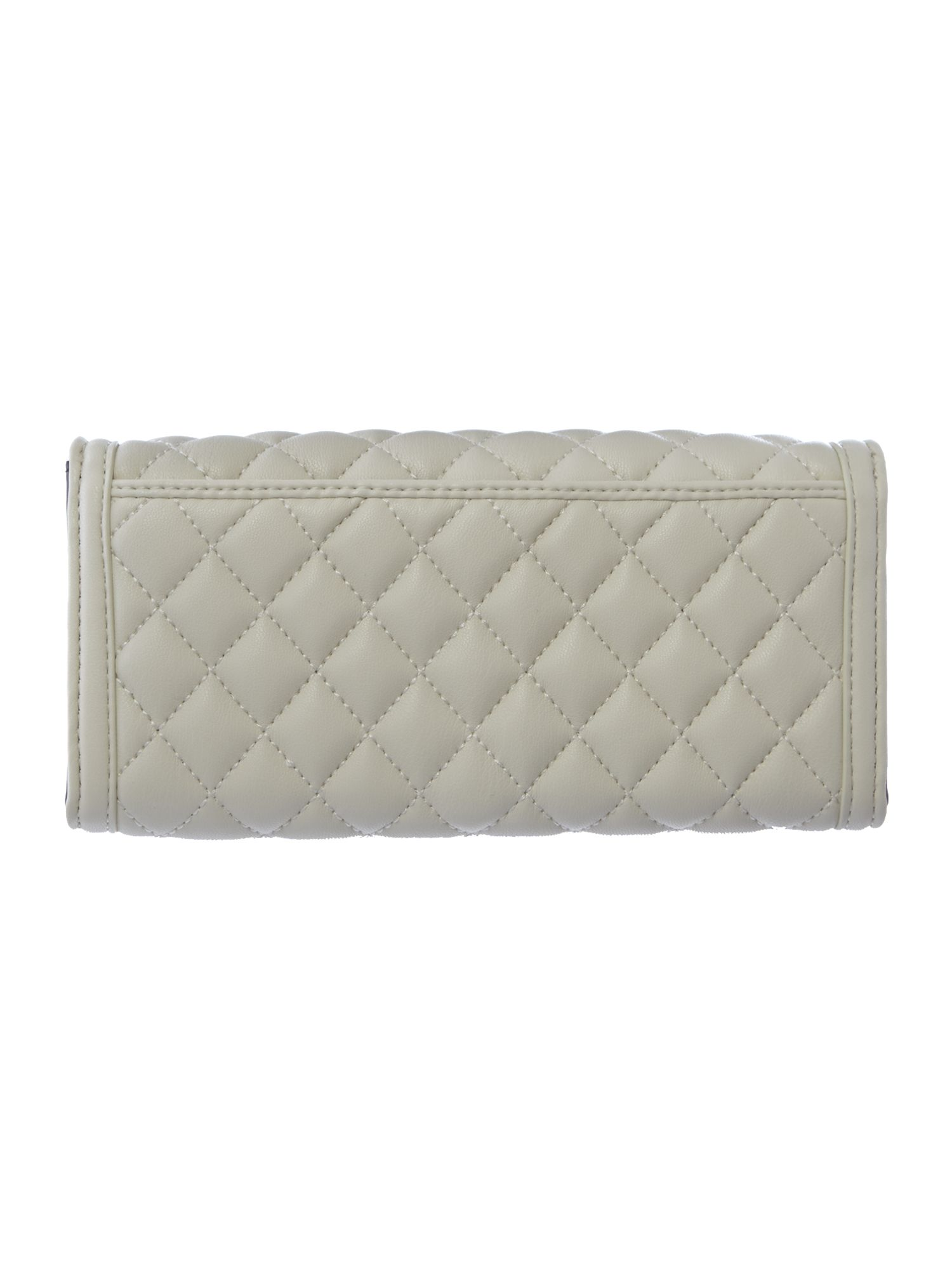 White quilt flapover purse