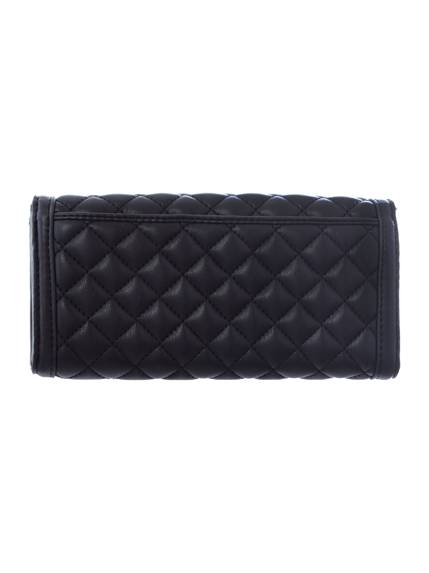 Black enamel plaque flapover purse