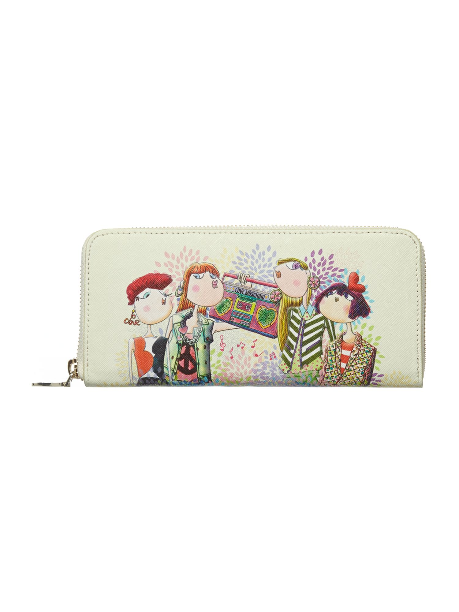 White ziparound charming purse
