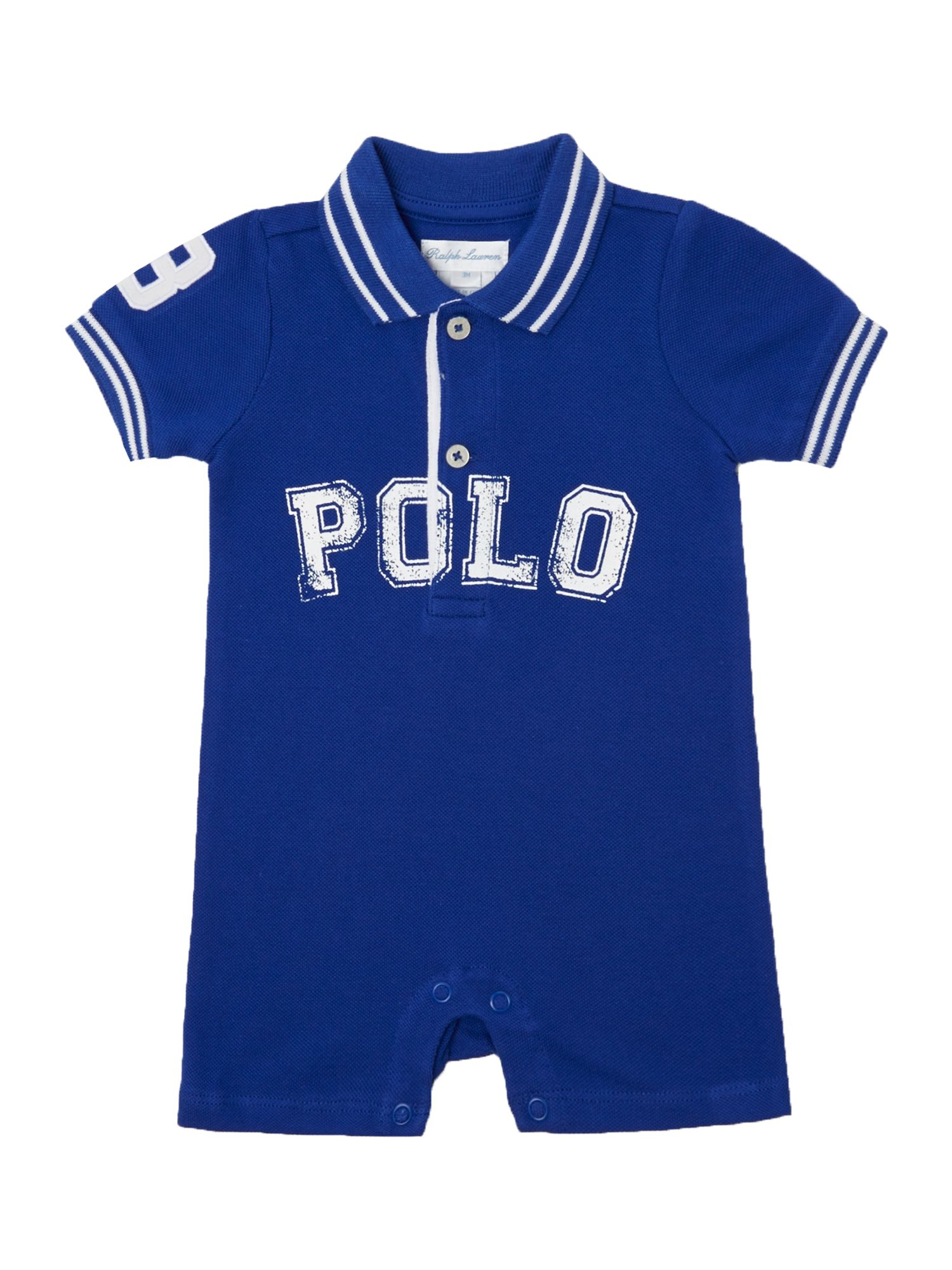 Babys polo text shorts all in one