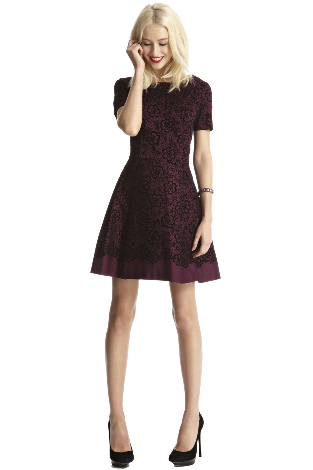 Lace Flocked Skater Dress