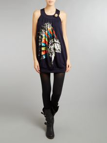 Printed knitted tunic dress