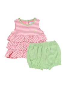 Babys stripe frill top and bloomers set