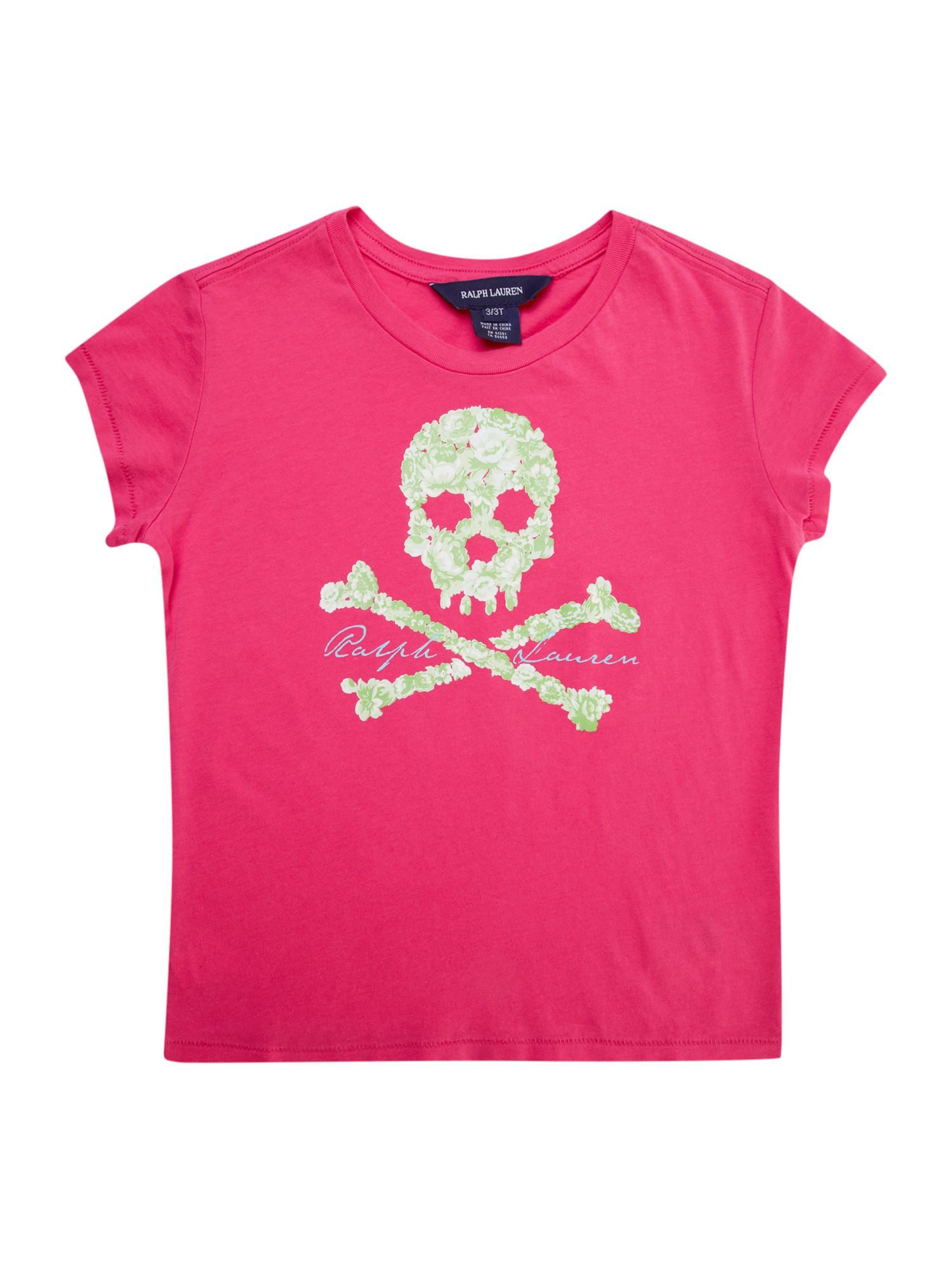 Girls floral skull jersey t-shirt