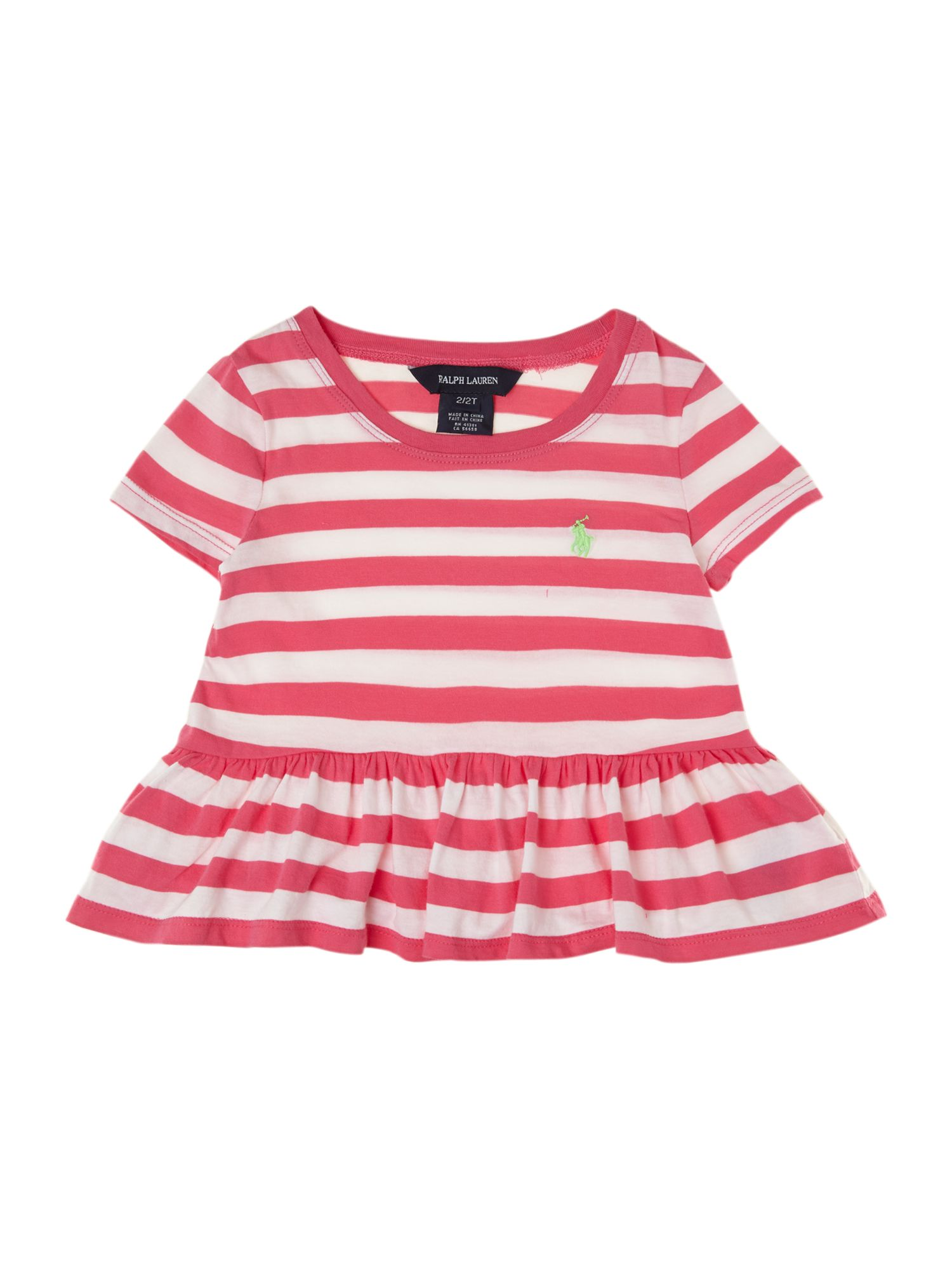 Girls stripe peplum t-shirt