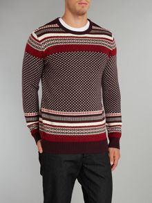 Patterned crew neck knit