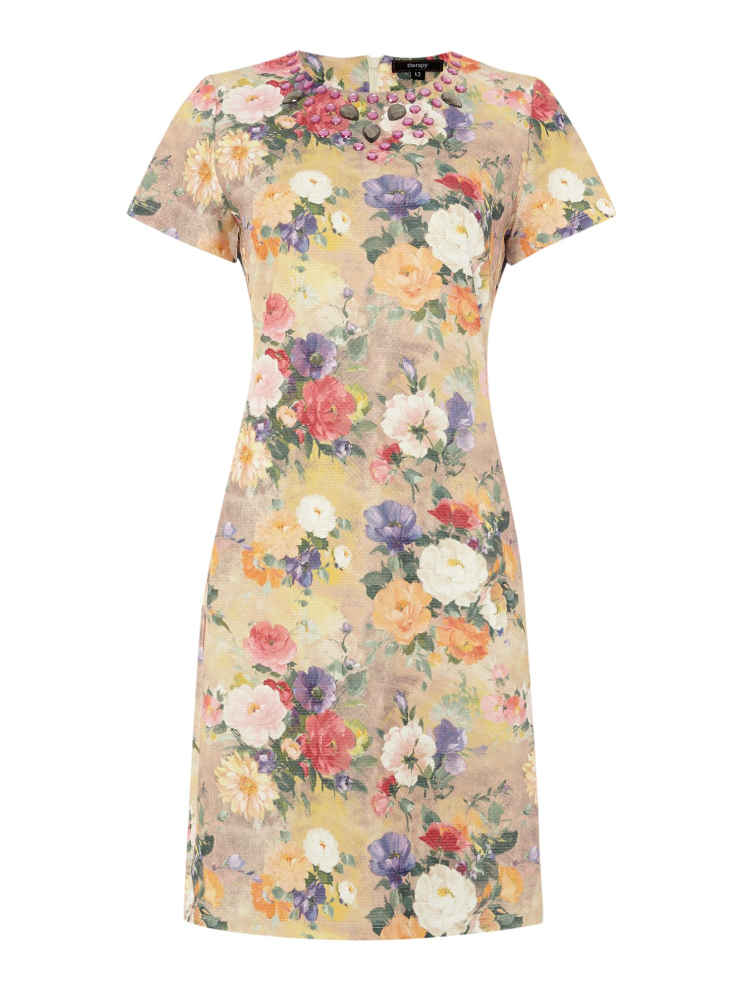 Floral print dress with necklace
