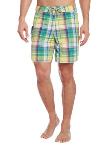 Check fixed waistband swim short