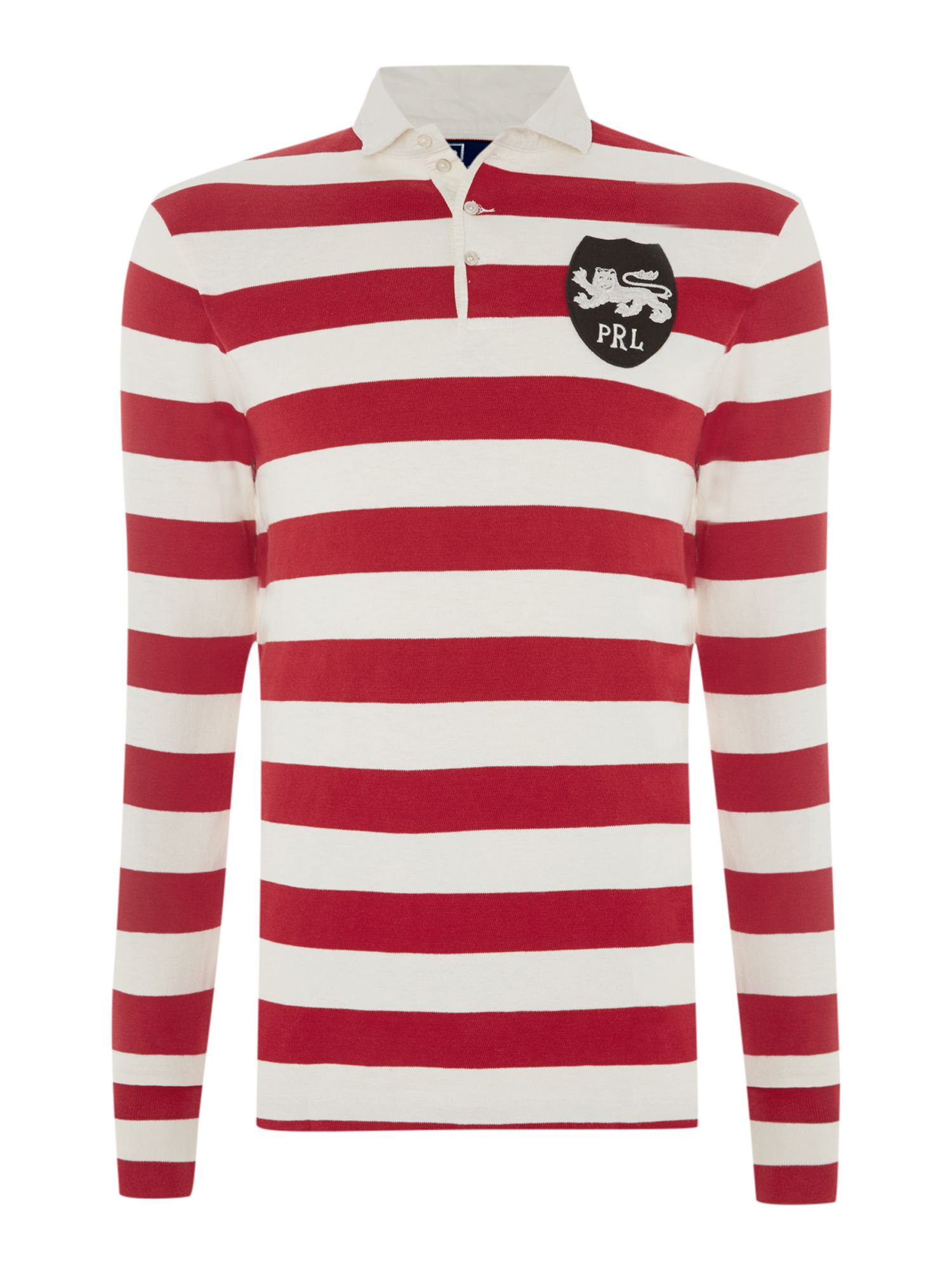 Custom fit slub & jersey block stripe rugby shirt