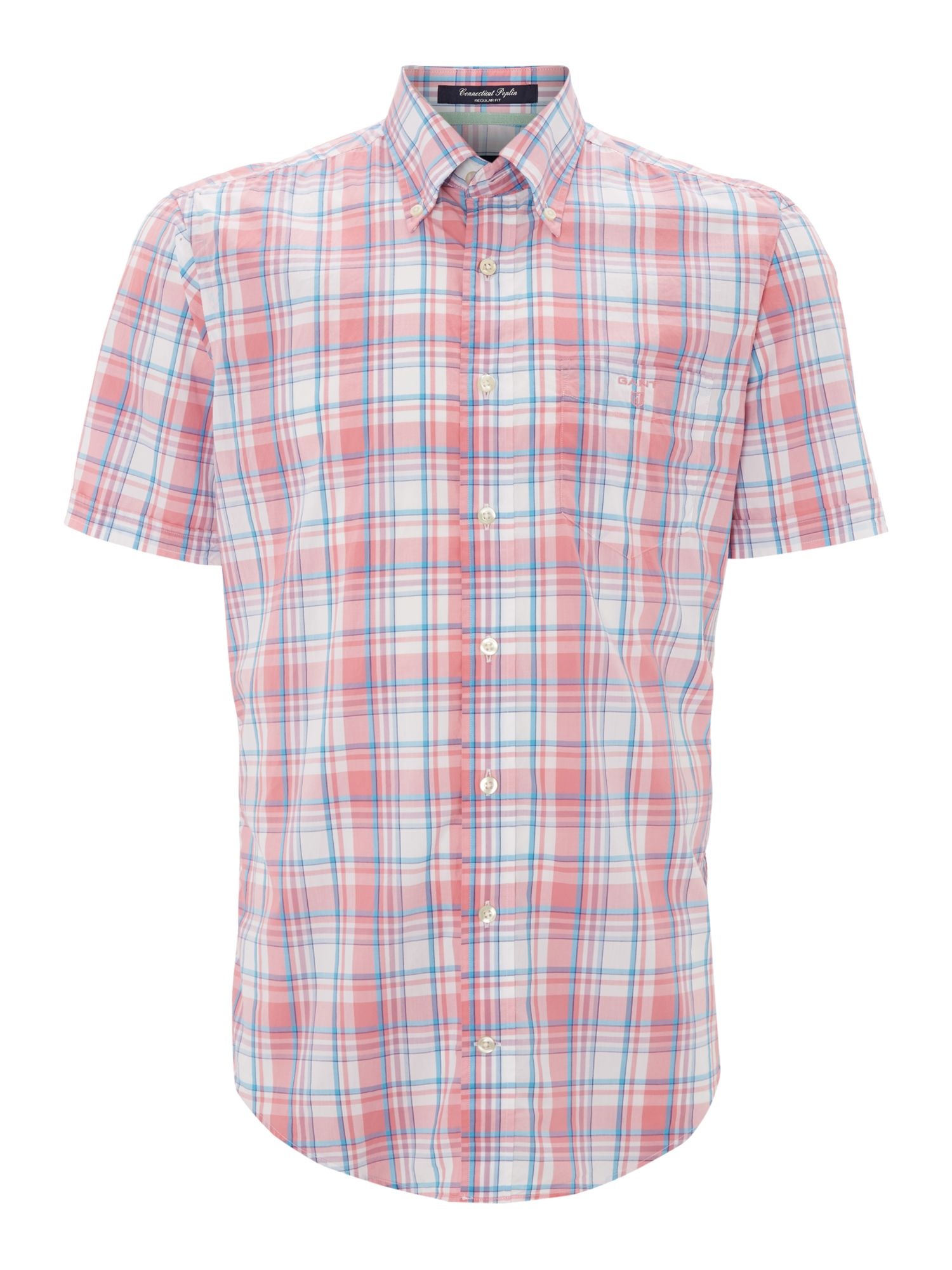 Short sleeve poplin check shirt