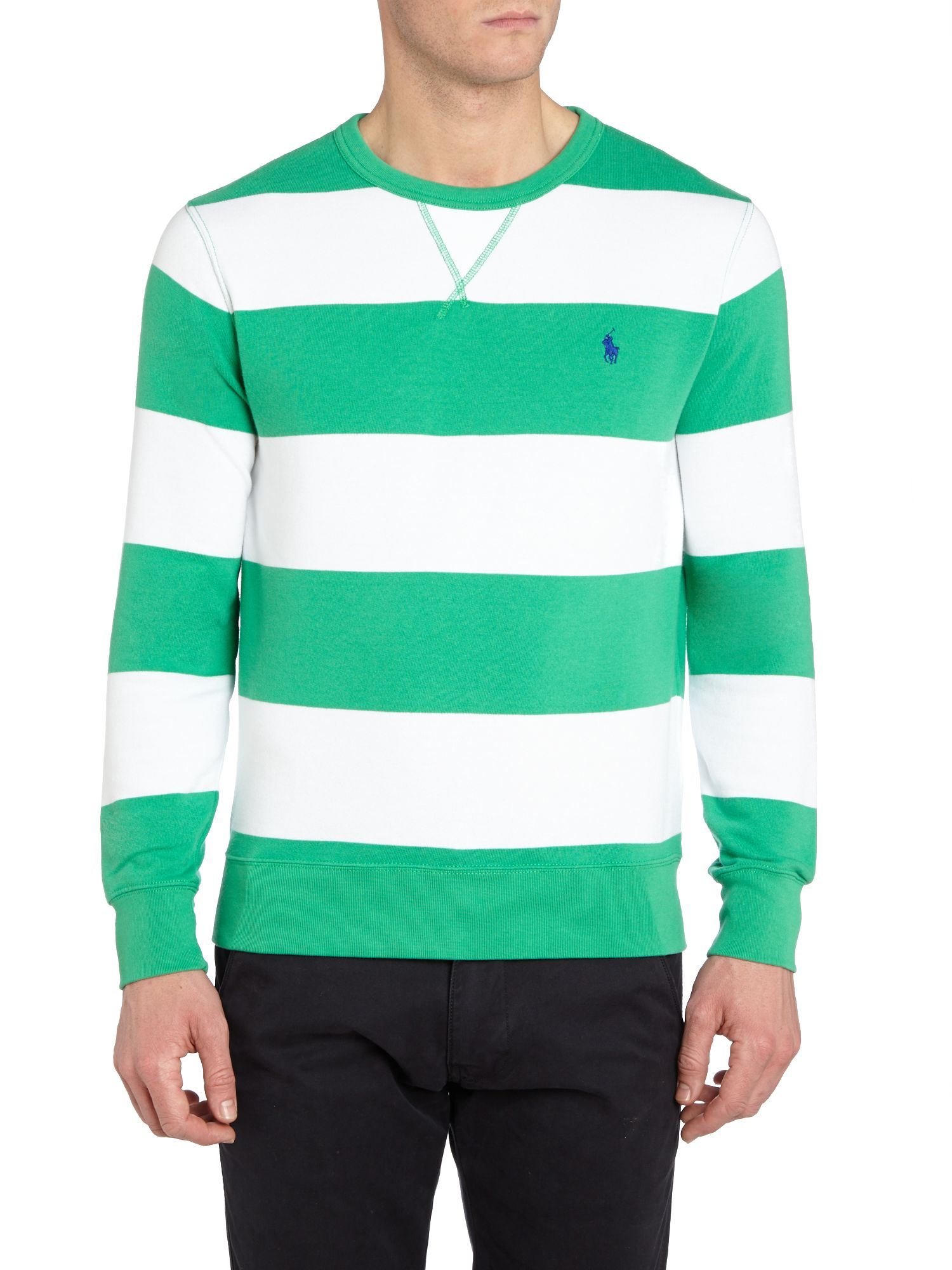 Atlantic terry striped crew neck sweatshirt