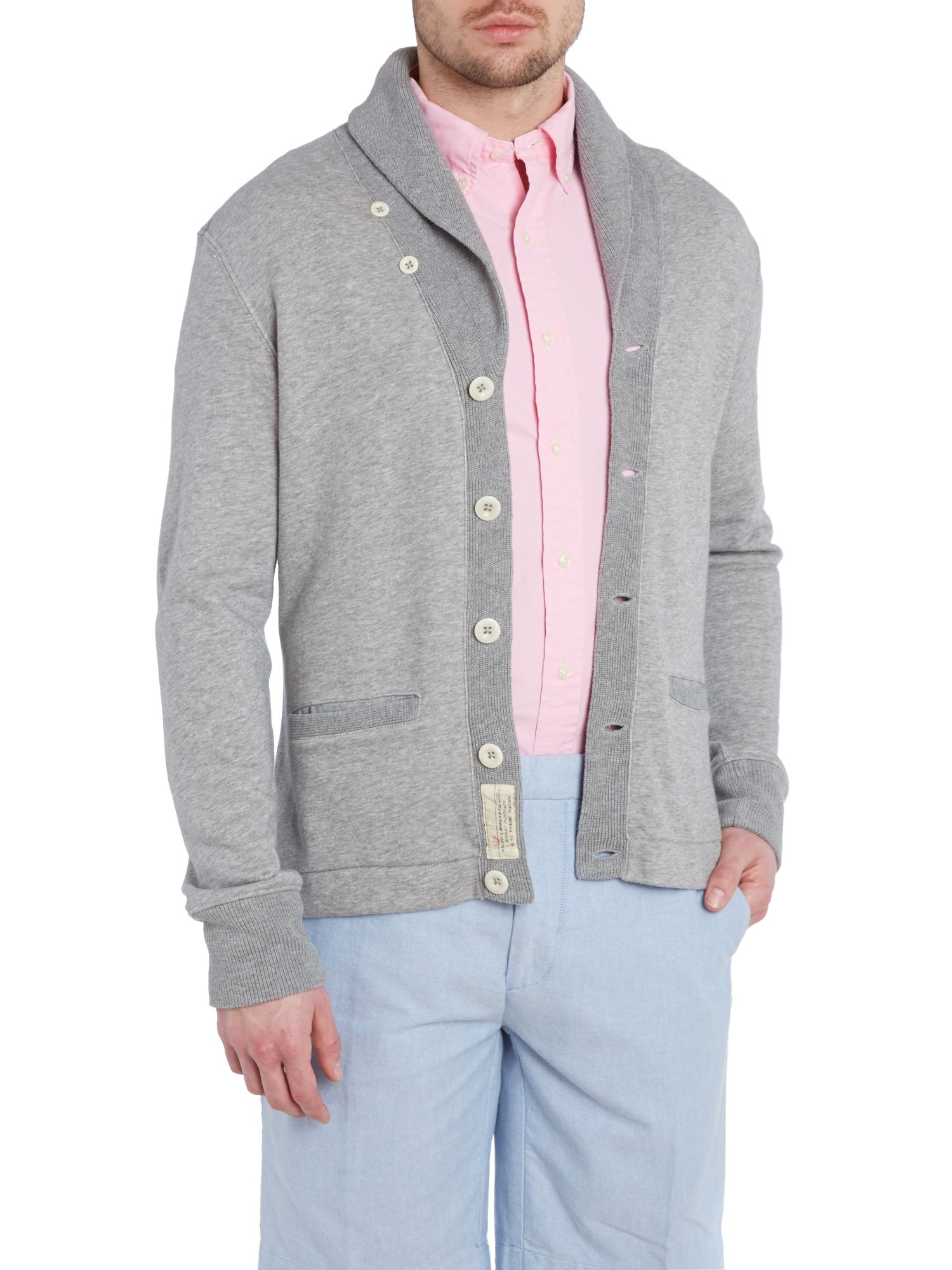 Heavy knit shawl collar button down cardigan