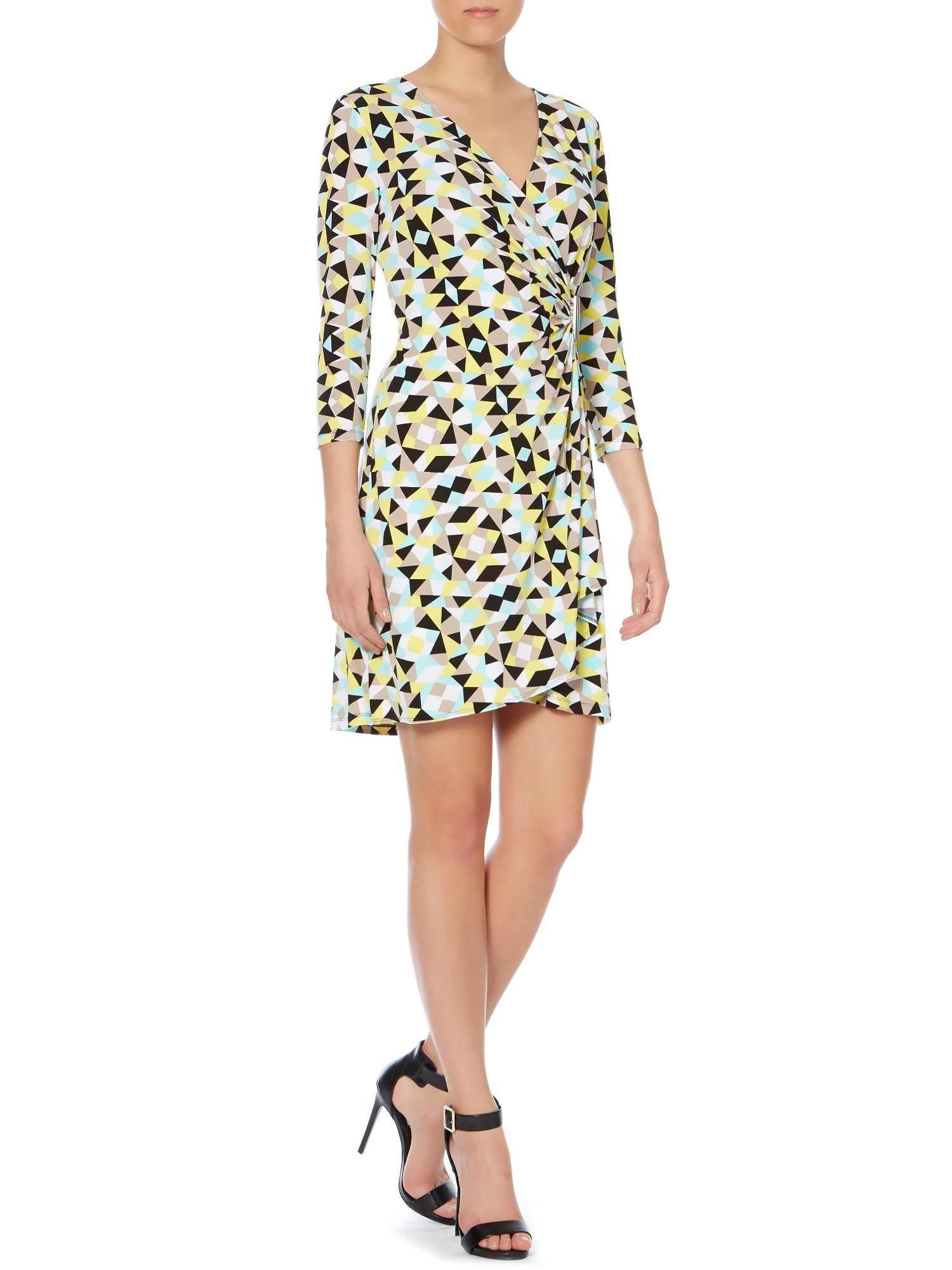 Printed wrap dress with hardware detail