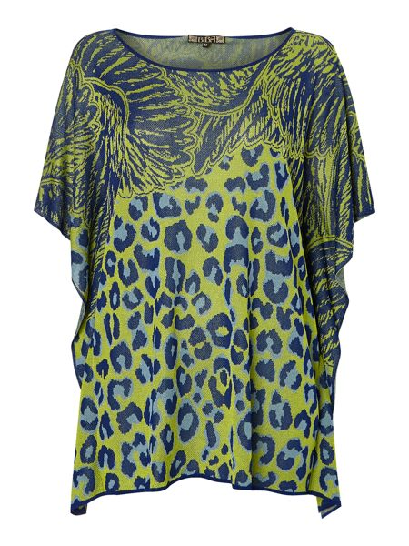 Biba Leopard printed square lightweight knit