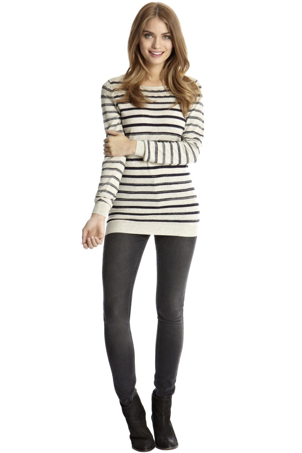 Pointelle sparkle stripe jumper