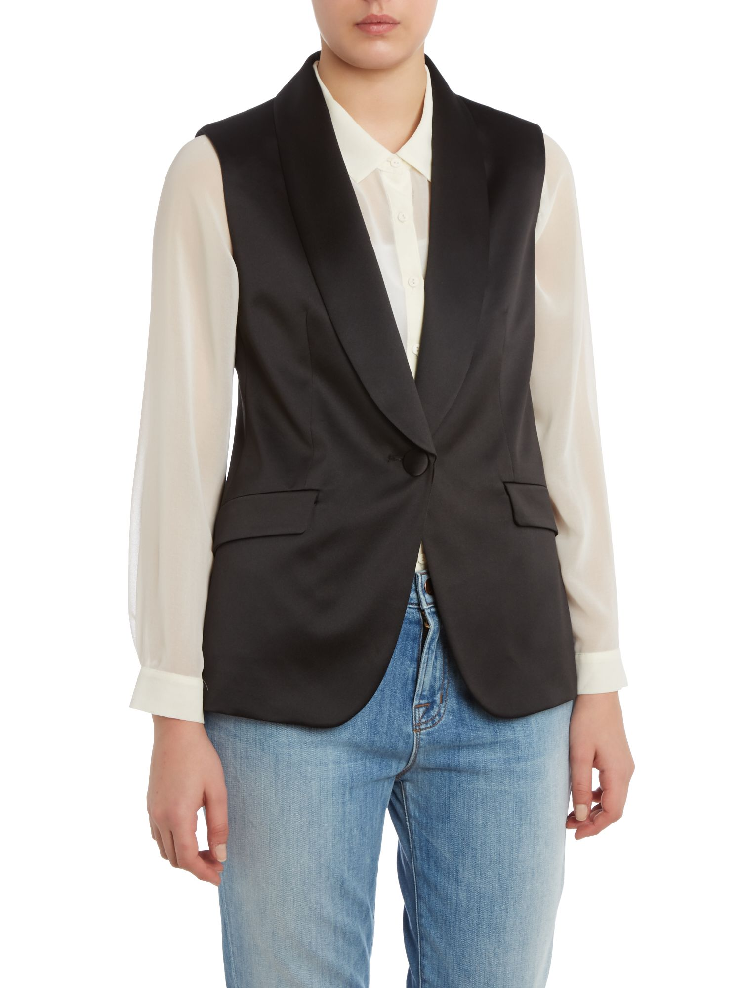 Sleeveless satin tie back jacket