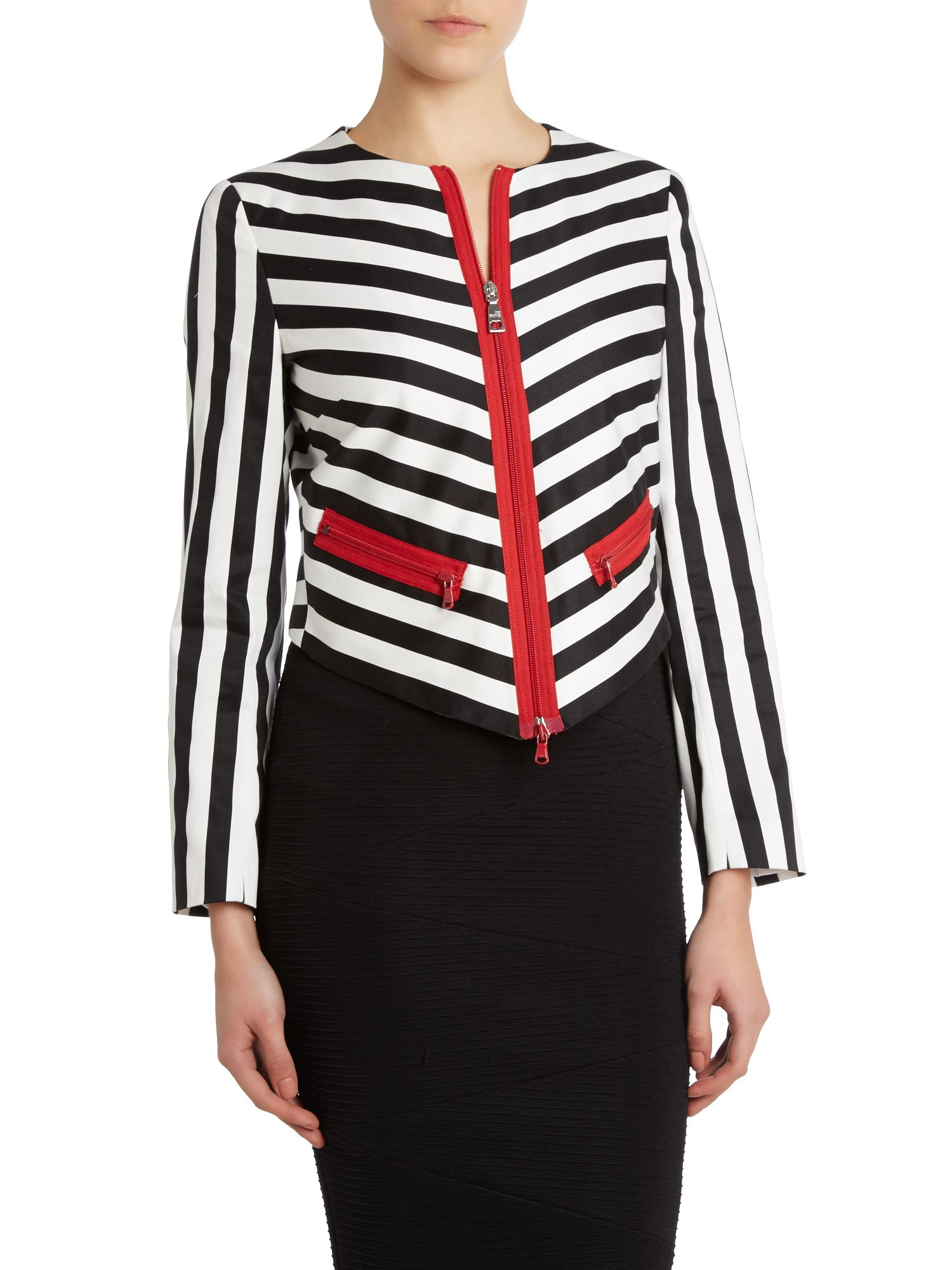 Monochrome stripe and red jacket