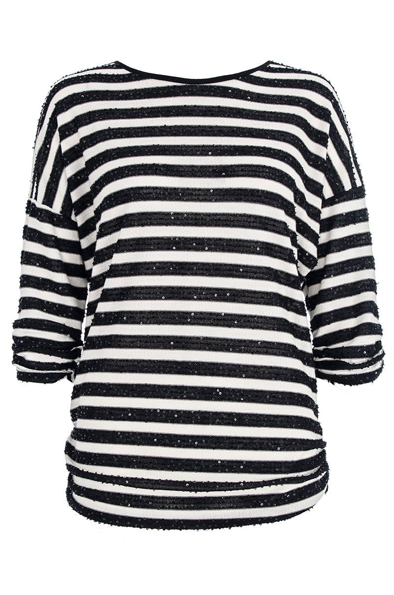 Black and cream sequin stripe top