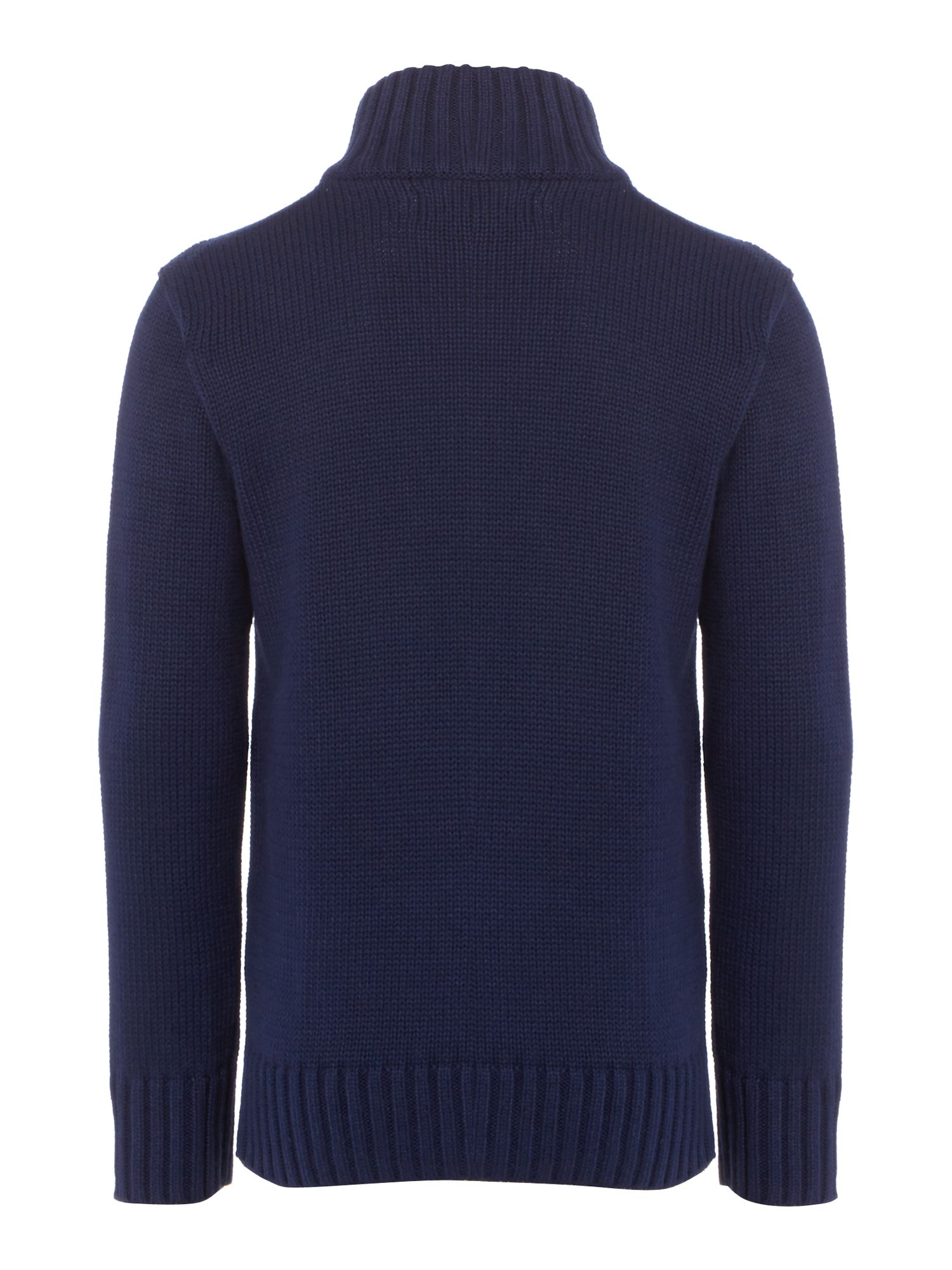 Boy`s funnel neck zip thru knit