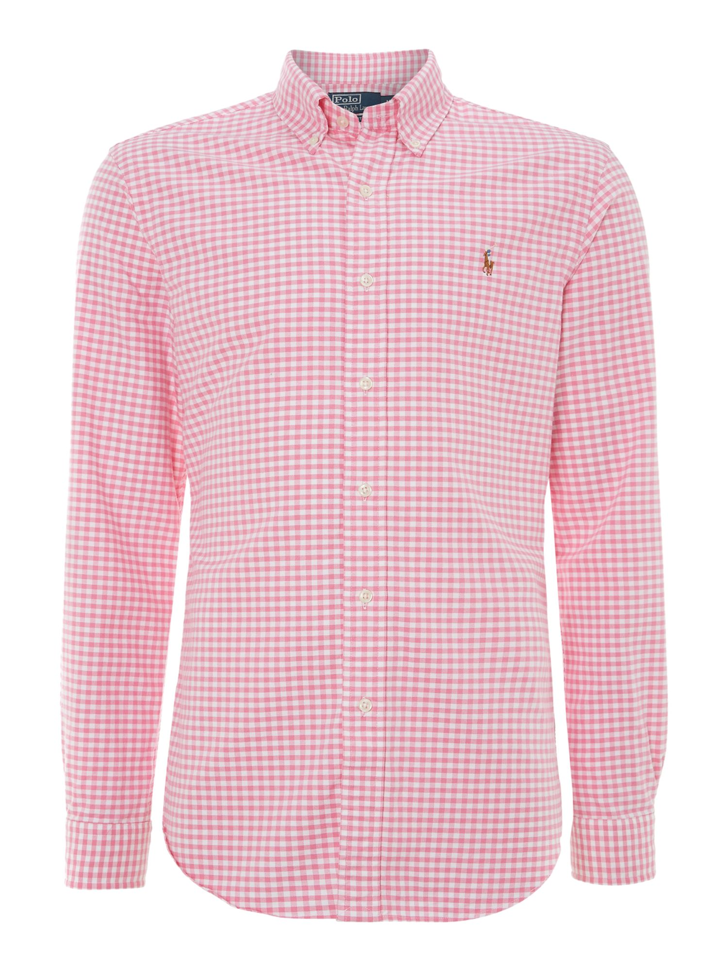 Classic slim fit long sleeve gingham shirt