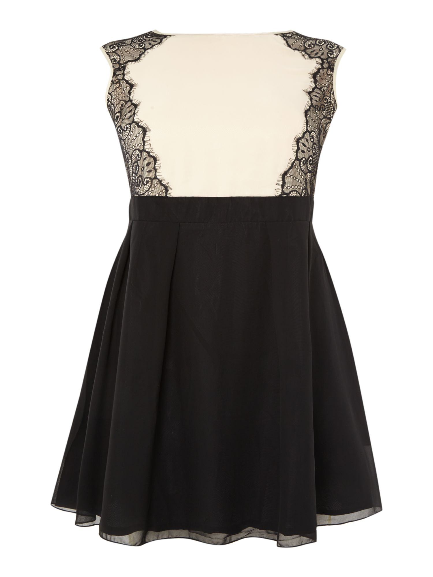 Lace side fit and flare dress