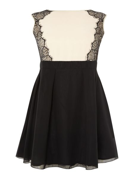 Little Mistress Plus Size Lace side fit and flare dress