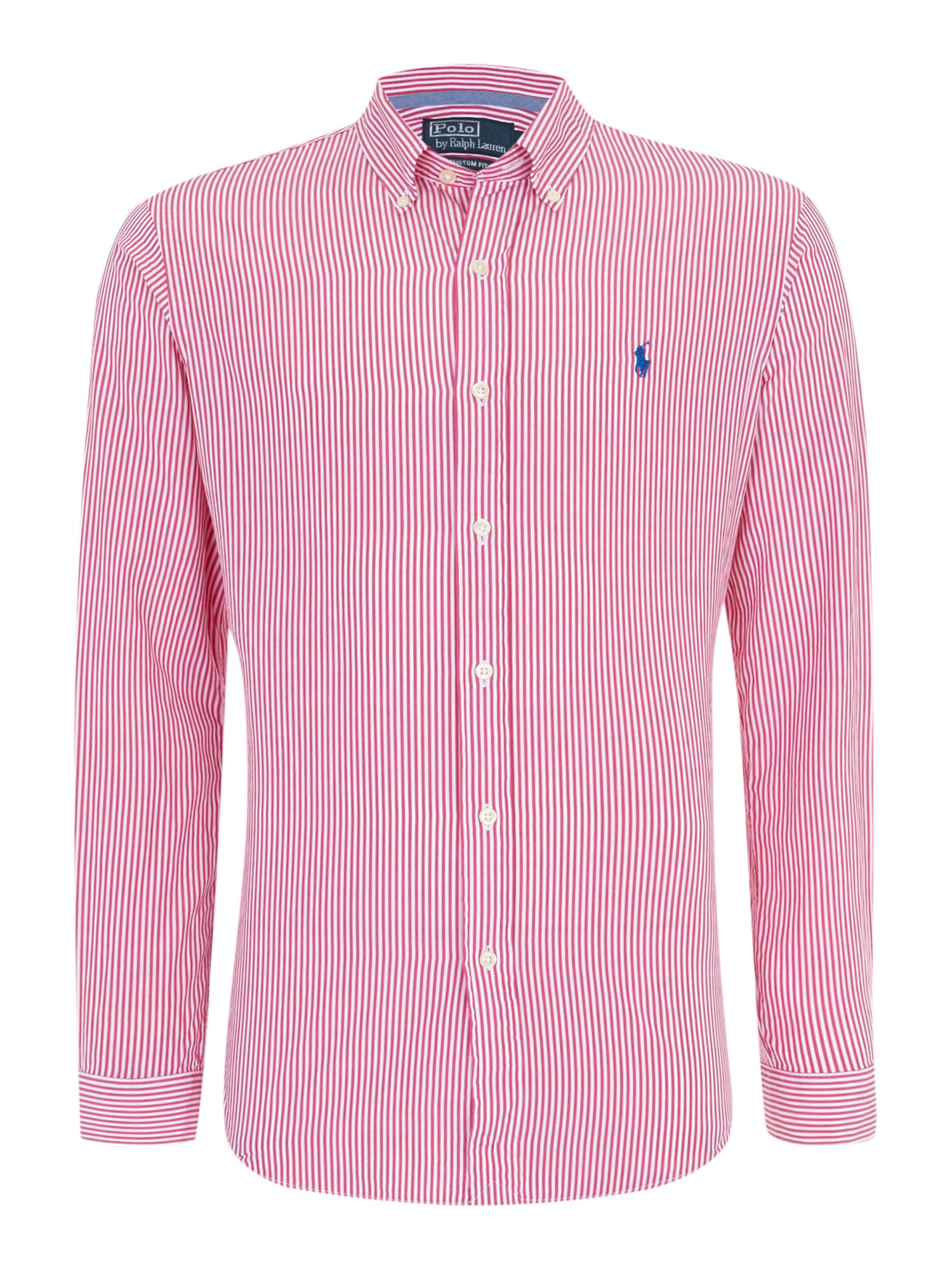 Classic long sleeve fine stripe custom fit shirt