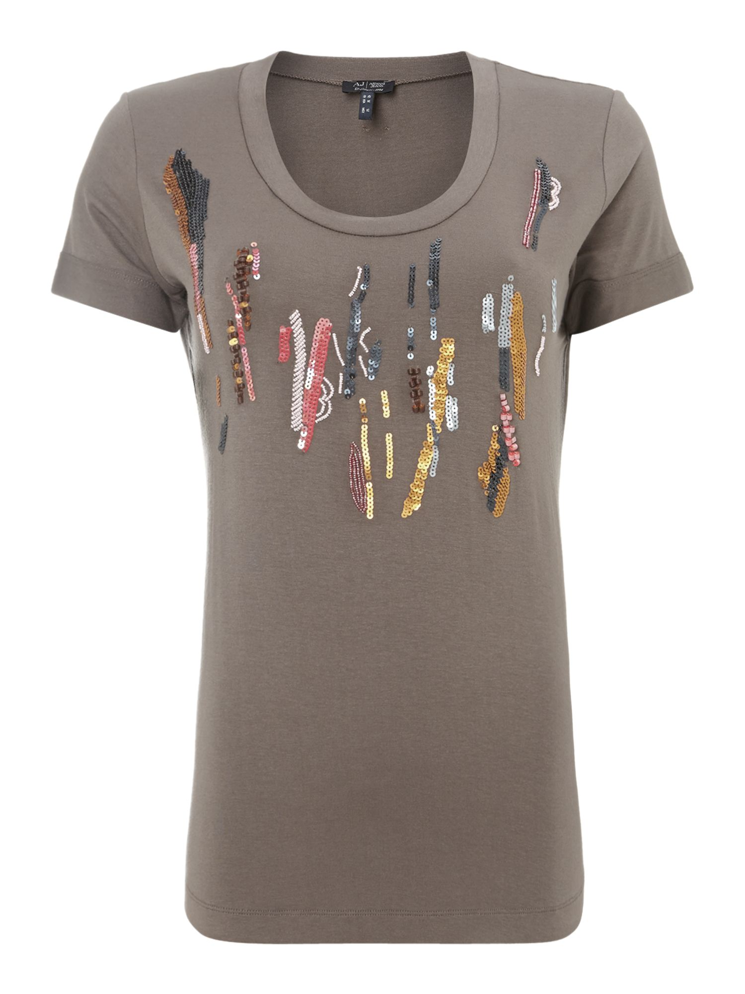 Short sleeve sequin print t- shirt