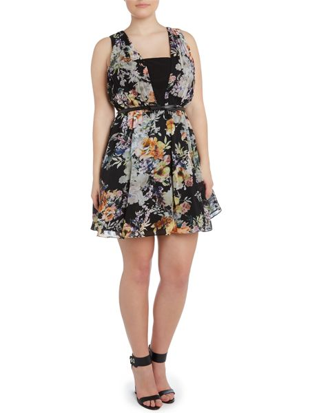 Little Mistress Floral fit and flare dress